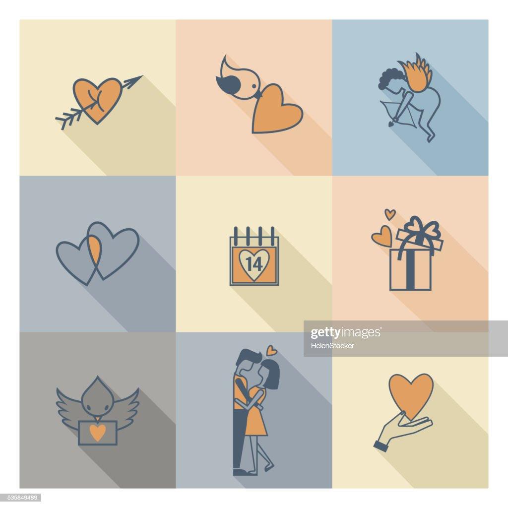 Happy Valentines Day Icons Vector Art