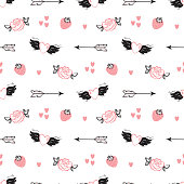 Happy Valentine's day. Love Wedding Vector Background. Valentine Seamless pattern. Hand drawn Doodle Hearts with Wings, Strawberry, Cupid's Arrows, rose flower