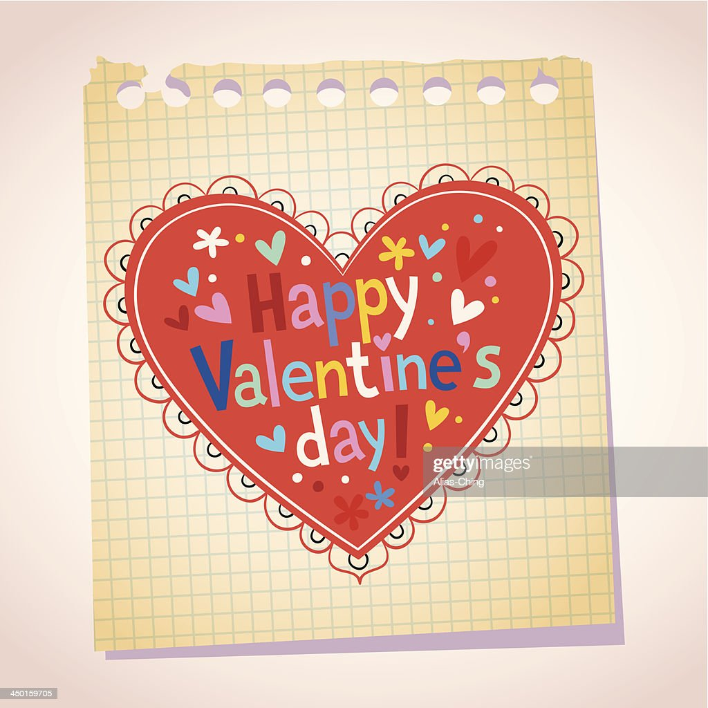 Happy Valentine's day note paper cartoon illustration