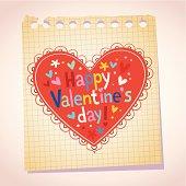 Happy Valentine's day note paper cartoon illustration
