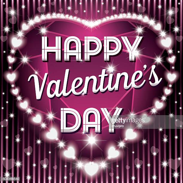 Happy Valentine's Day on a shining heart-shaped gemstone background