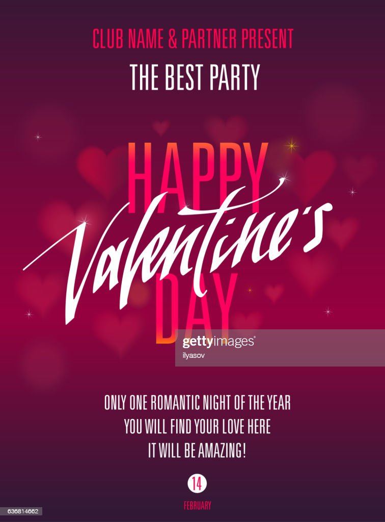 Happy Valentines Day Party Invitation For Flyer Poster