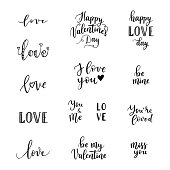 Happy Valentines Day phrases for greeting cards, posters. Vector hand lettering background.