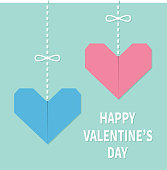 Happy Valentines day sign symbol. Pink blue origami paper hearts hanging on dash line, bow. Handmade craft fold. Cute graphic shape. Flat design. Love greeting card. Isolated. Cute background.