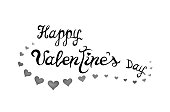 Happy Valentines Day. Text in hand drawn style and hearts on white background.