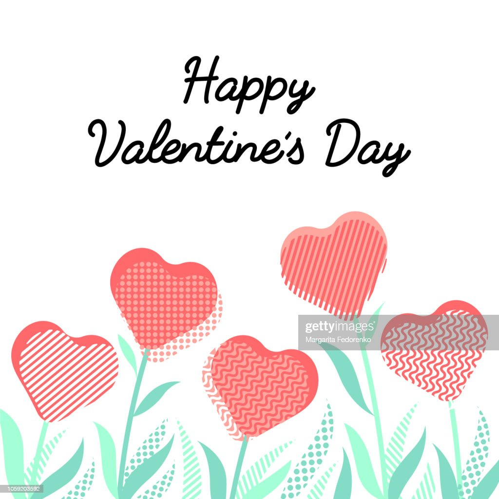 Happy Valentine's Day typography lettering poster with heart-shaped flowers background