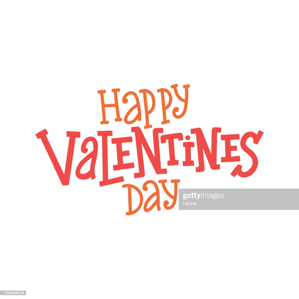 Happy Valentine's Day vector lettering composition on white background. Handwritten design elements. Valentine's Day typography. Hand drawn clipart. Isolated typography print for card, poster, flyer.