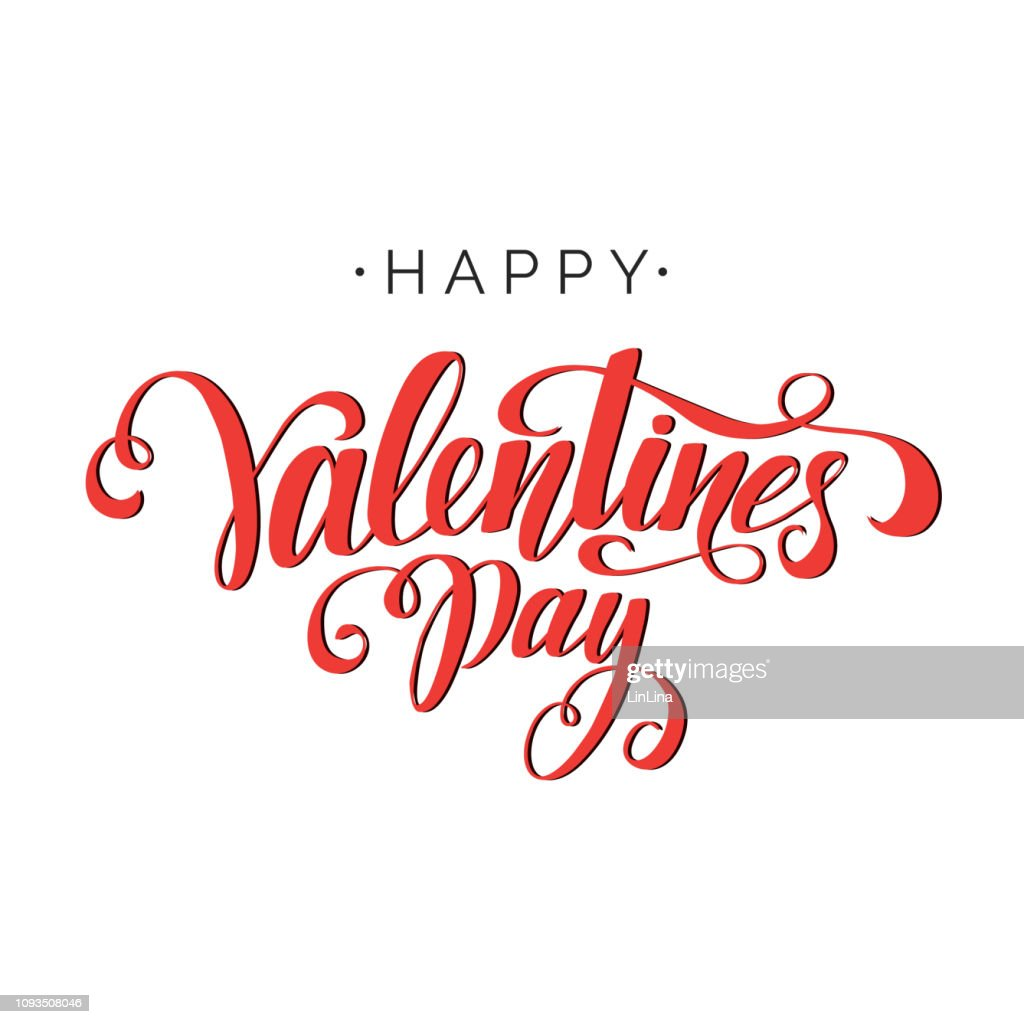 Happy Valentine's Day vector lettering. Hand written greeting card template for Valentine's day. Modern calligraphy, hand lettering inscription in red color. Isolated typography print.
