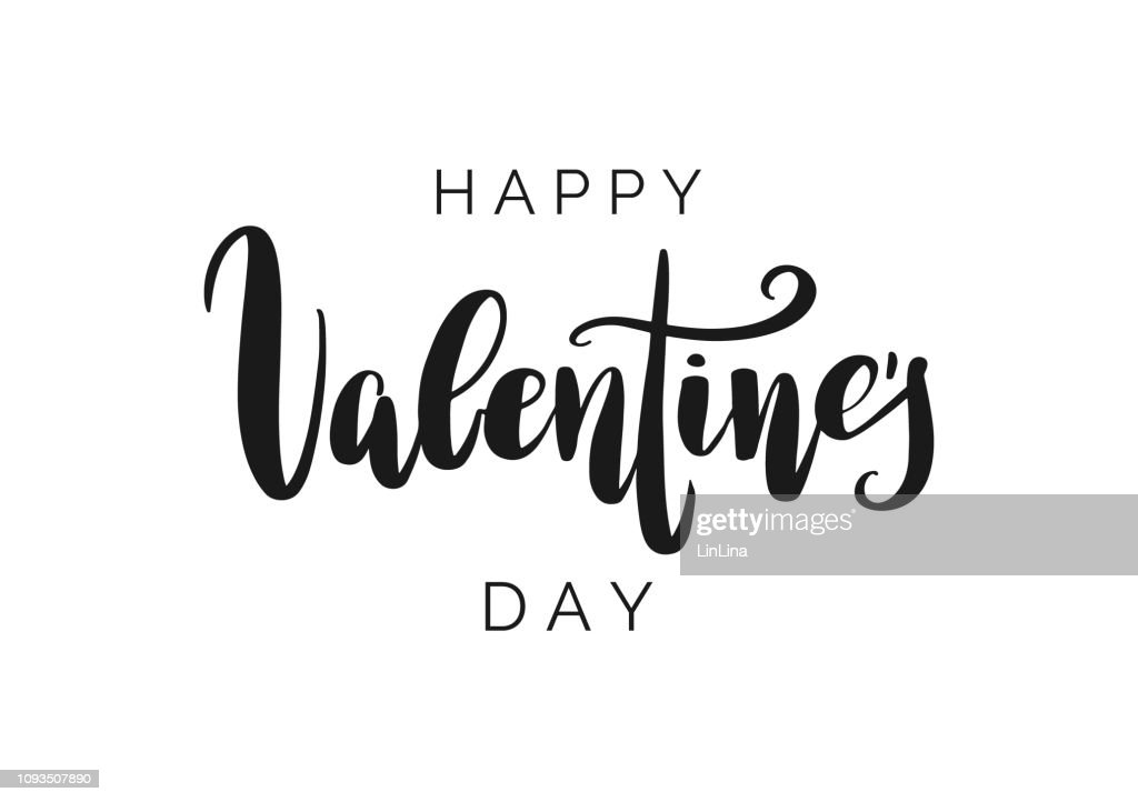 Happy Valentine's Day vector lettering isolated on white background. Hand written greeting card. Modern calligraphy.