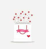 Happy valentines day, wedding cards design with Floral bouquets
