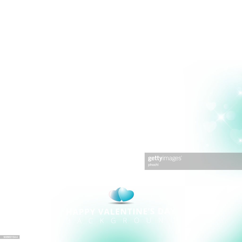 Happy valentines day with shining heart bokeh on blue background. Vector illustration.