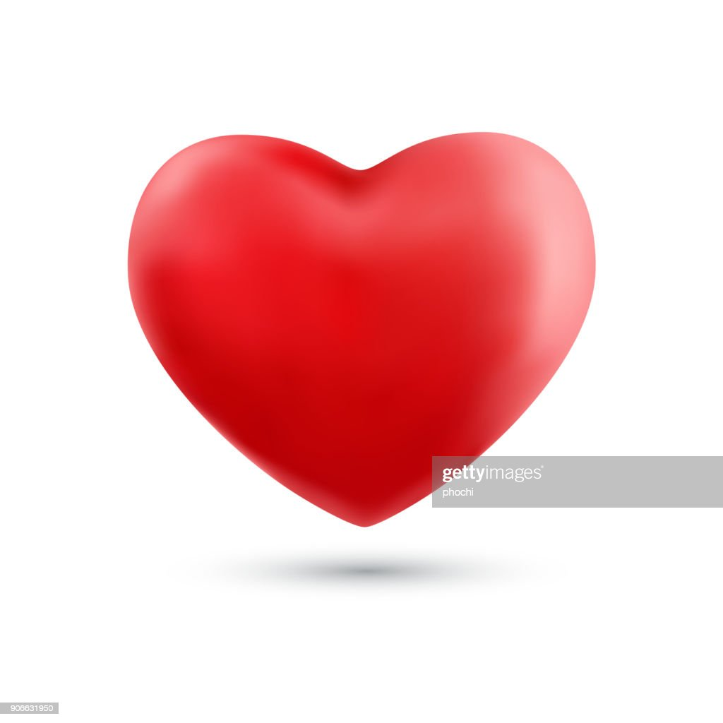 Happy valentines day with symbol 3d red heart ballon isolated on white background.