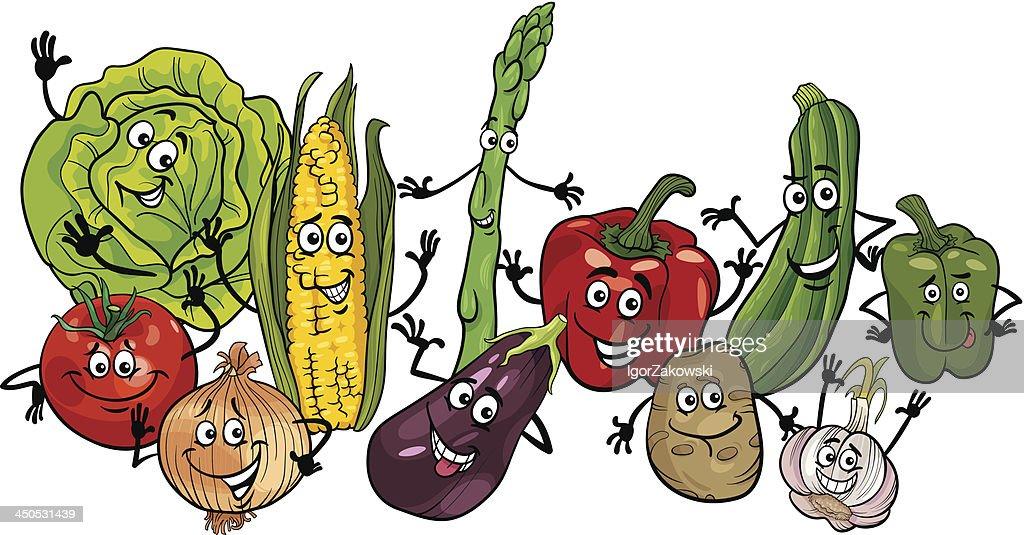 happy vegetables group cartoon illustration