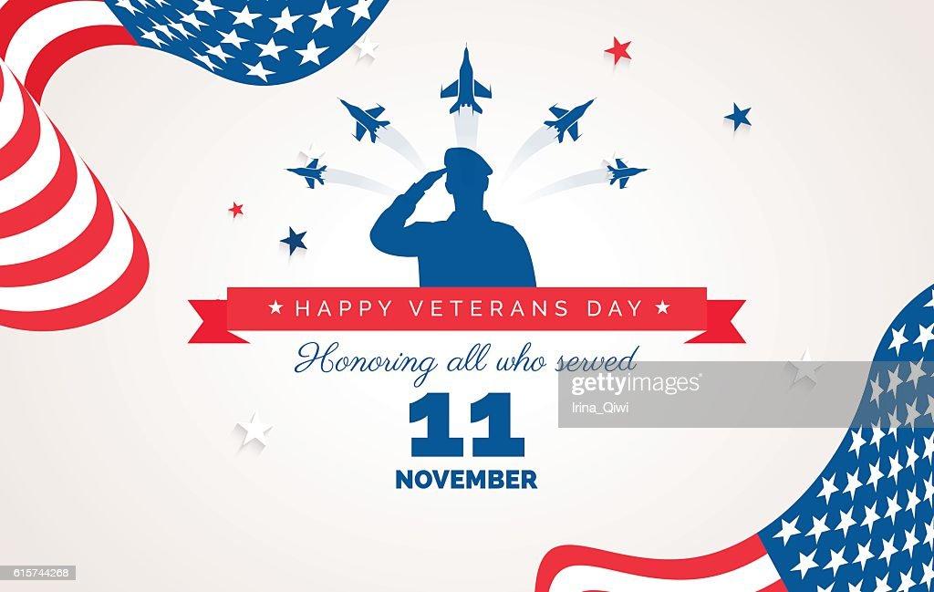 Happy Veteran Day flyer, banner or poster