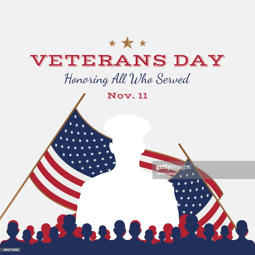Happy veterans day greeting card with usa flag and soldier on happy veterans day greeting card with usa flag and soldier on background national american m4hsunfo