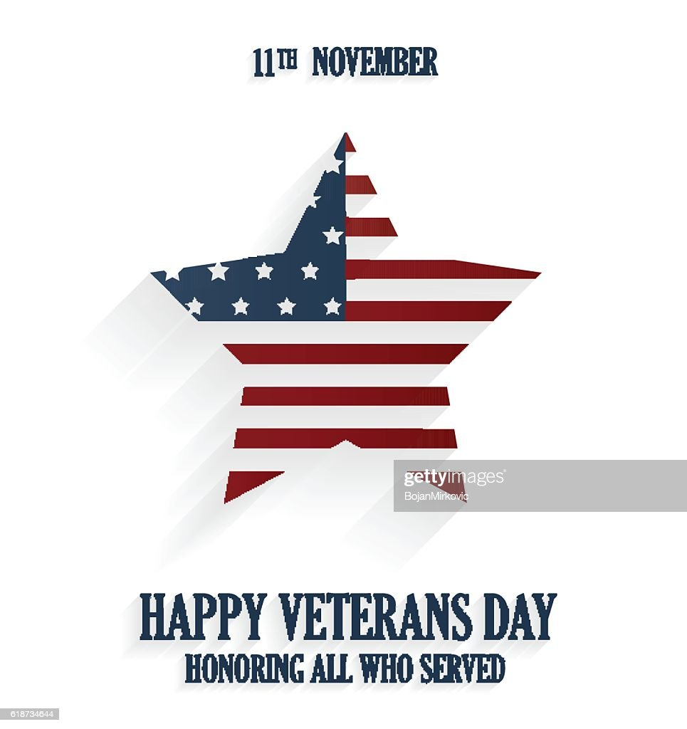 Happy Veterans day poster on white background