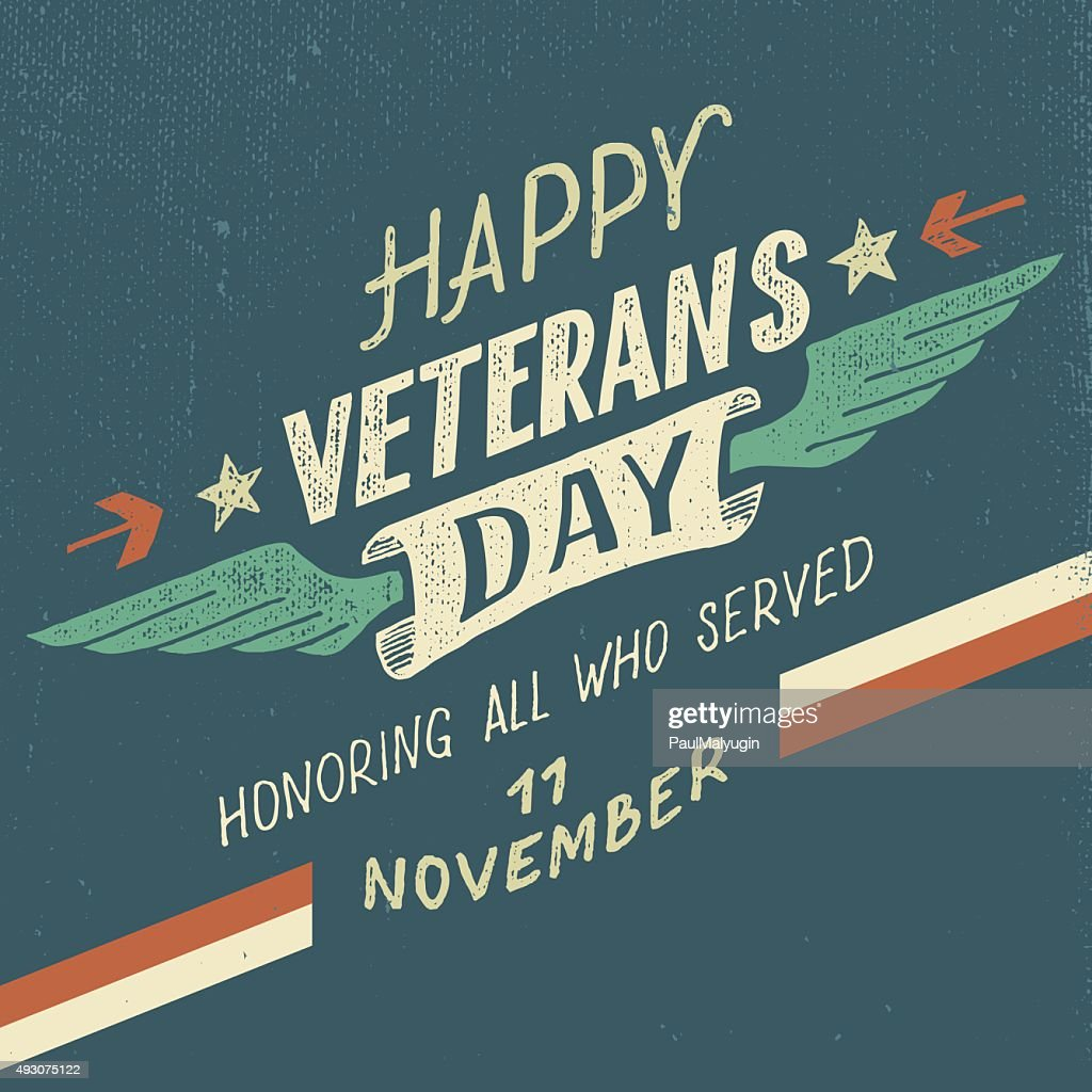 Happy Veterans day typographic design