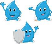 Happy water drop cartoon