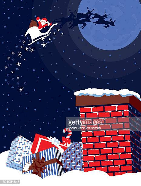 Happy Waving Father Christmas Flying Over  Chimney