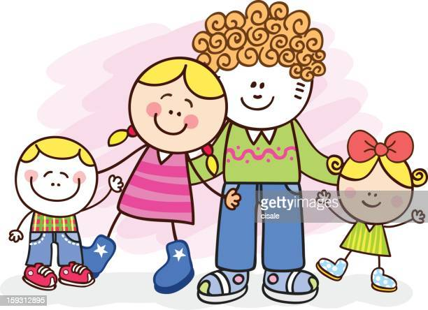 happy white family posing vector cartoon illustration - kids hugging mom cartoon stock illustrations