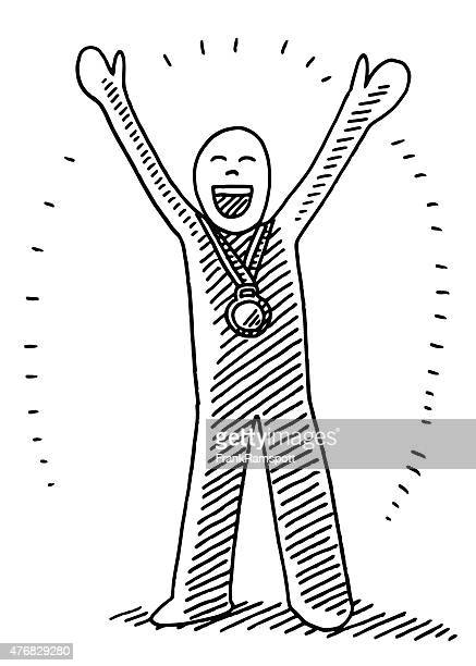Happy Winner With Gold Medal Drawing