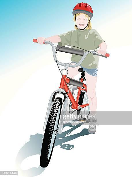 happy with my new bike - bike helmet stock illustrations, clip art, cartoons, & icons
