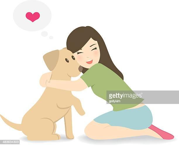 illustrazioni stock, clip art, cartoni animati e icone di tendenza di donna felice piegata verso il basso, abbracciare cane - abbracciare una persona