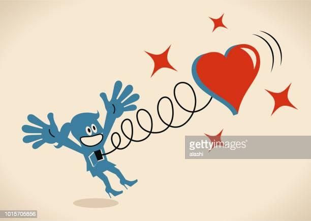 ilustraciones, imágenes clip art, dibujos animados e iconos de stock de mujer feliz saltando y un gran corazón brotando de su cuerpo - i love you