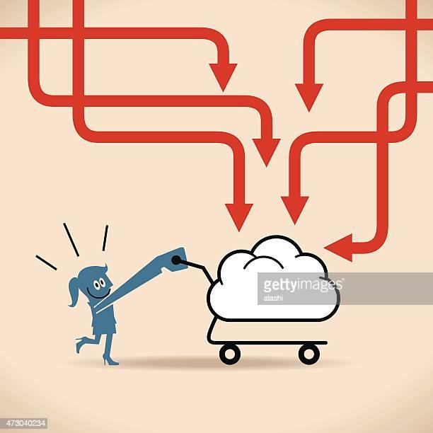 Mujer feliz empresaria) (impulsando una nube con forma de una cesta de compras