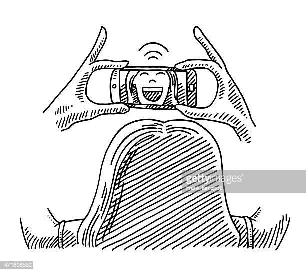 glückliche frau selfie holding smartphone zeichnung - federzeichnung stock-grafiken, -clipart, -cartoons und -symbole