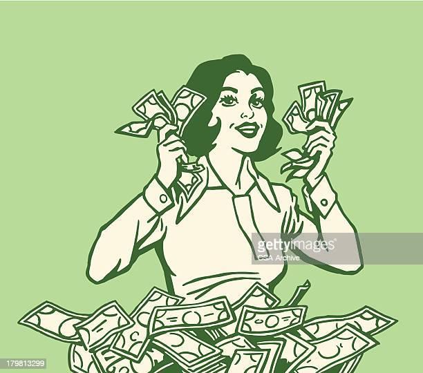 Mulher feliz com lotes de Dinheiro