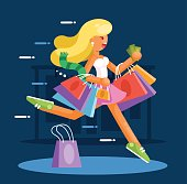 Happy woman with shopping bags hurry to make purchases. Flat style illustration