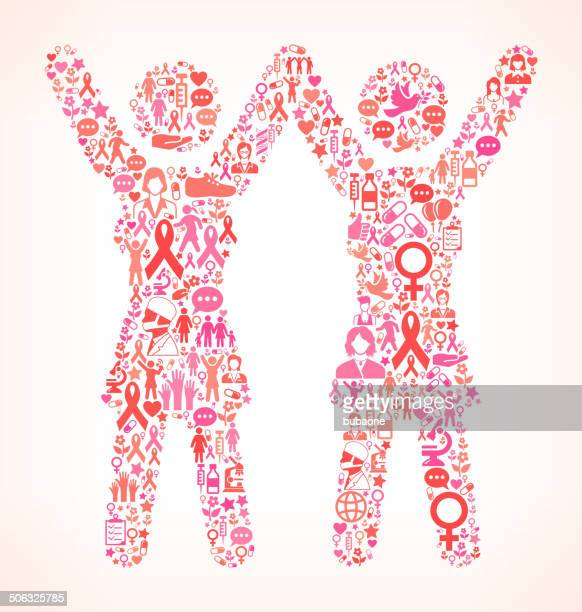 happy womans breast cancer awareness royalty free vector art - political rally stock illustrations, clip art, cartoons, & icons
