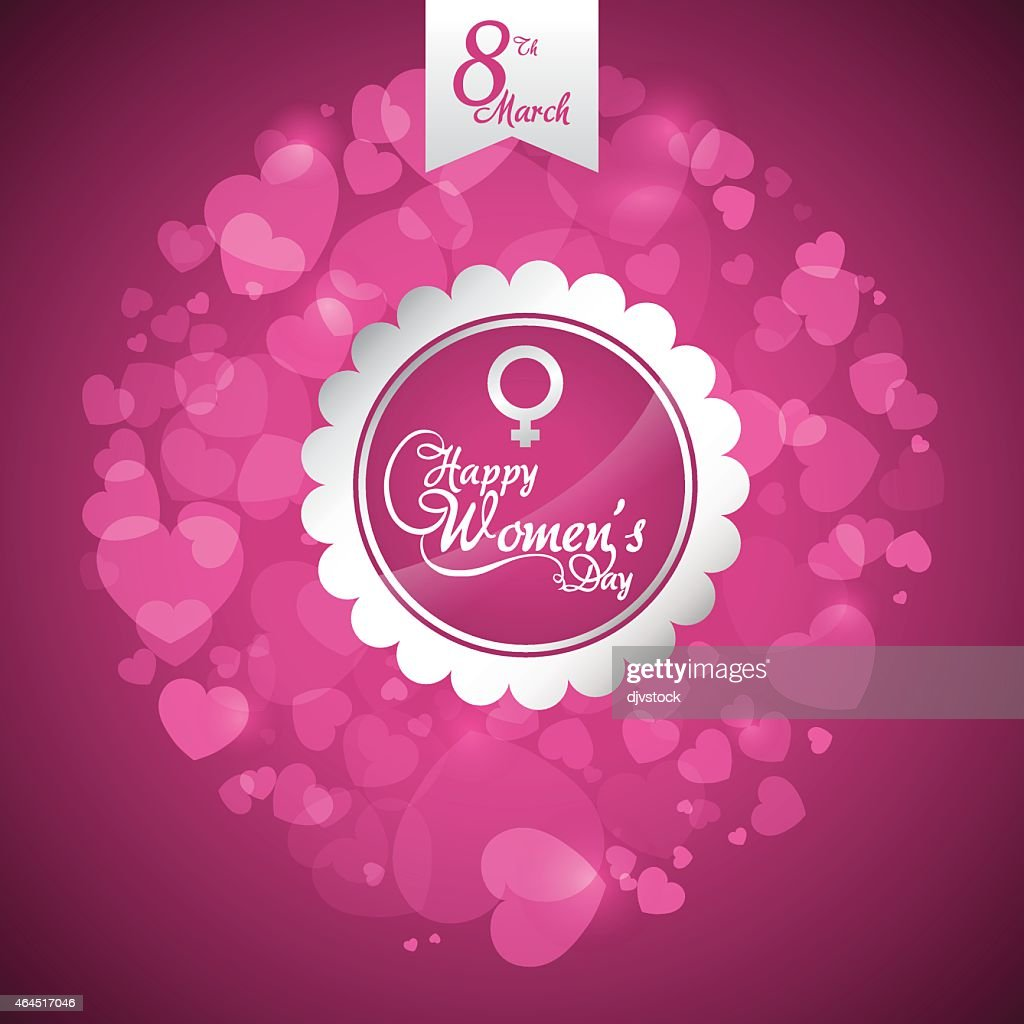 Happy woman's day greeting against a pink background