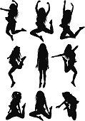 Happy women jumping