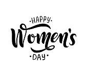 Happy Women s Day handwritten lettering