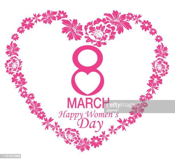 ilustraciones, imágenes clip art, dibujos animados e iconos de stock de tarjeta del día de las mujeres felices - feliz dia de la mujer