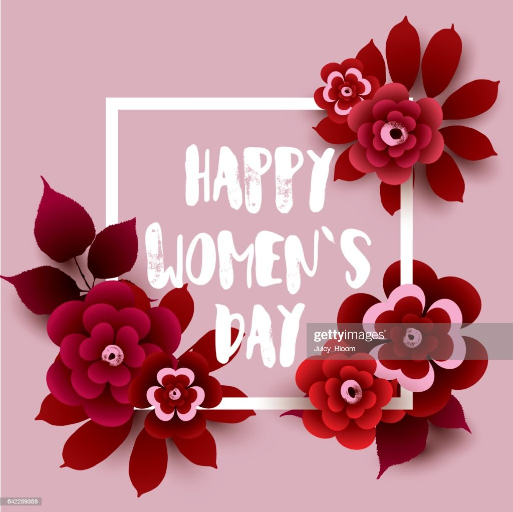Happy Women's Day card with flowers and frame