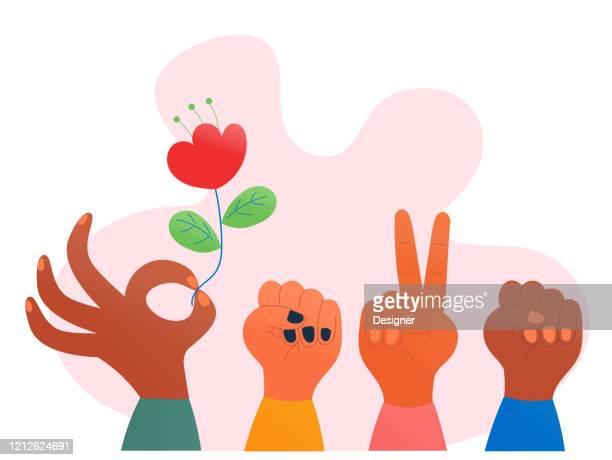ilustraciones, imágenes clip art, dibujos animados e iconos de stock de ilustración vectorial del concepto del día de la mujer feliz. flat modern design for web page, banner, presentation, etc. - feliz dia de la mujer