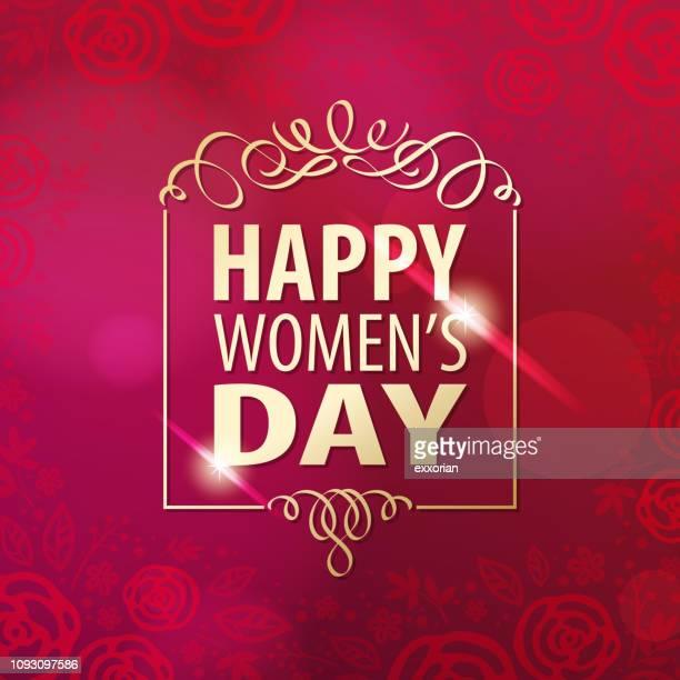 stockillustraties, clipart, cartoons en iconen met happy women's dag gouden frame - internationale vrouwendag