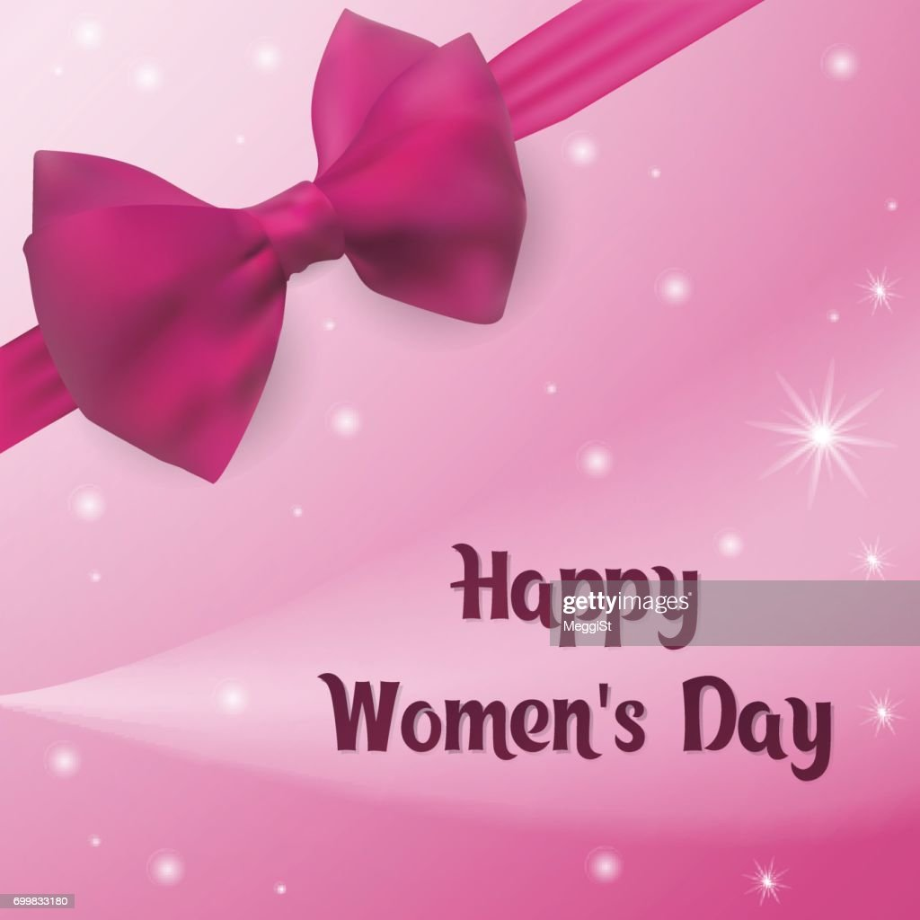 Happy Womens Day Greeting Card With Pink Bow And Ribbon Vector Art