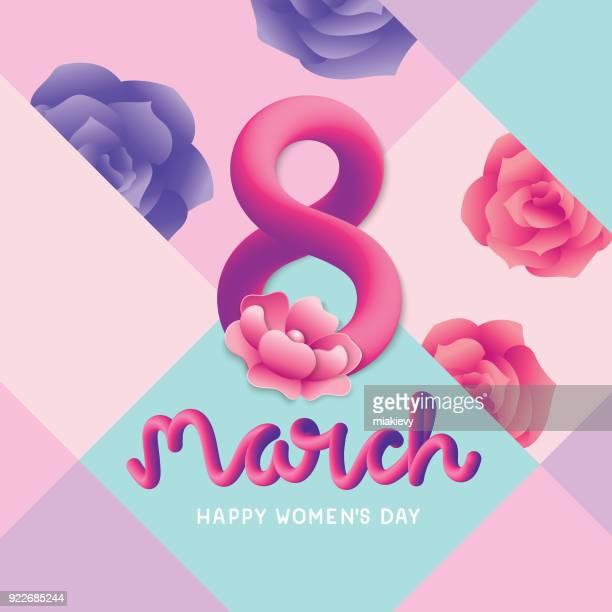 stockillustraties, clipart, cartoons en iconen met gelukkig vrouwen dag groet - internationale vrouwendag
