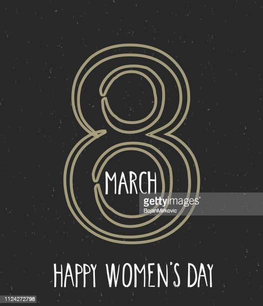ilustraciones, imágenes clip art, dibujos animados e iconos de stock de día de la mujer feliz 8 de marzo de la mano letras. fondo negro. ilustración de vector. - feliz dia de la mujer