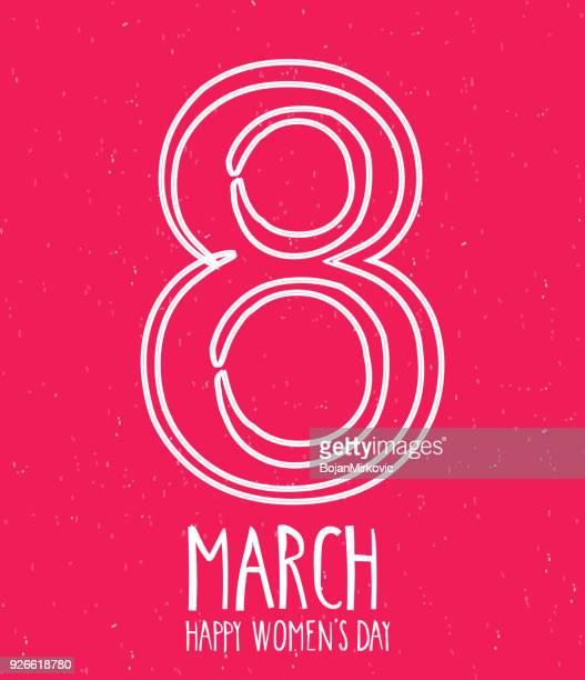 ilustraciones, imágenes clip art, dibujos animados e iconos de stock de día de la mujer feliz 8 de marzo de la mano letras. texto escrito a mano. fondo rojo. ilustración de vector. - feliz dia de la mujer