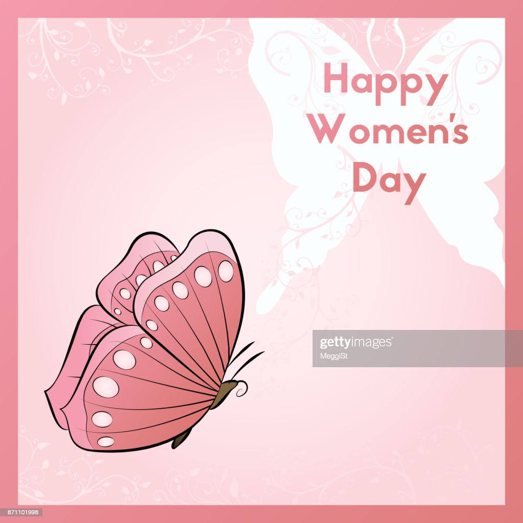 Happy Women's Day. The design of the invitation to the event. Floral ornaments illustration. Decoration flying butterfly.