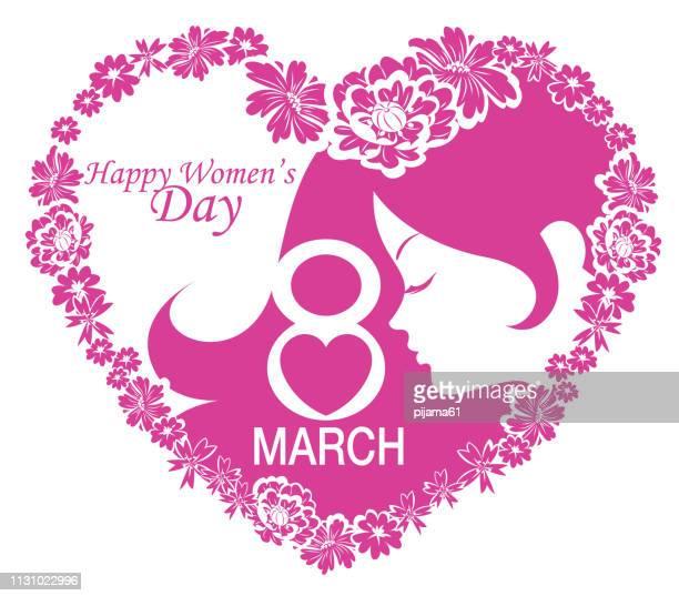 ilustraciones, imágenes clip art, dibujos animados e iconos de stock de feliz día de la mujer - feliz dia de la mujer