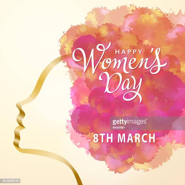 stockillustraties, clipart, cartoons en iconen met happy women's dag aquarel - internationale vrouwendag