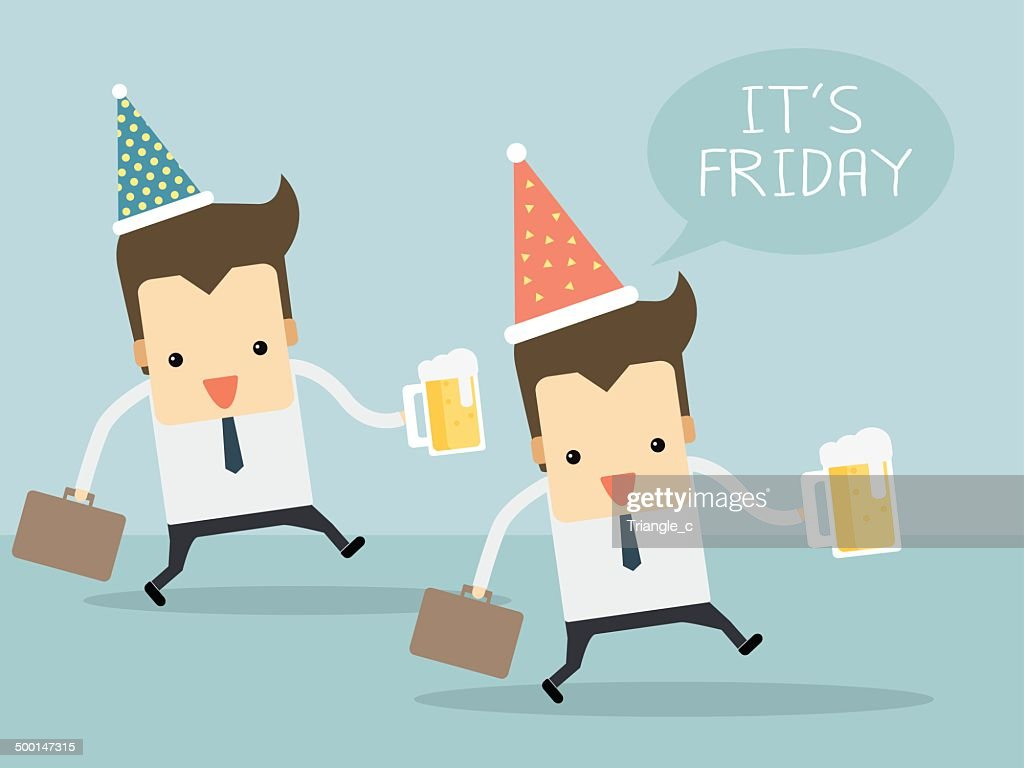 Happy workers in friday with beers