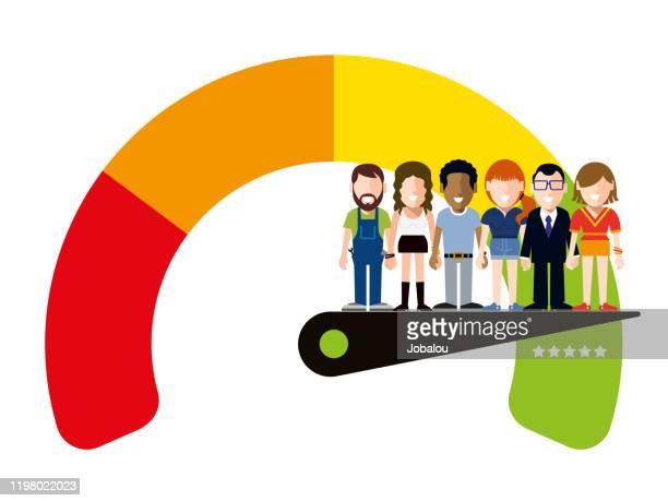 ilustrações de stock, clip art, desenhos animados e ícones de happy workers on a satisfaction quality meter - satisfação