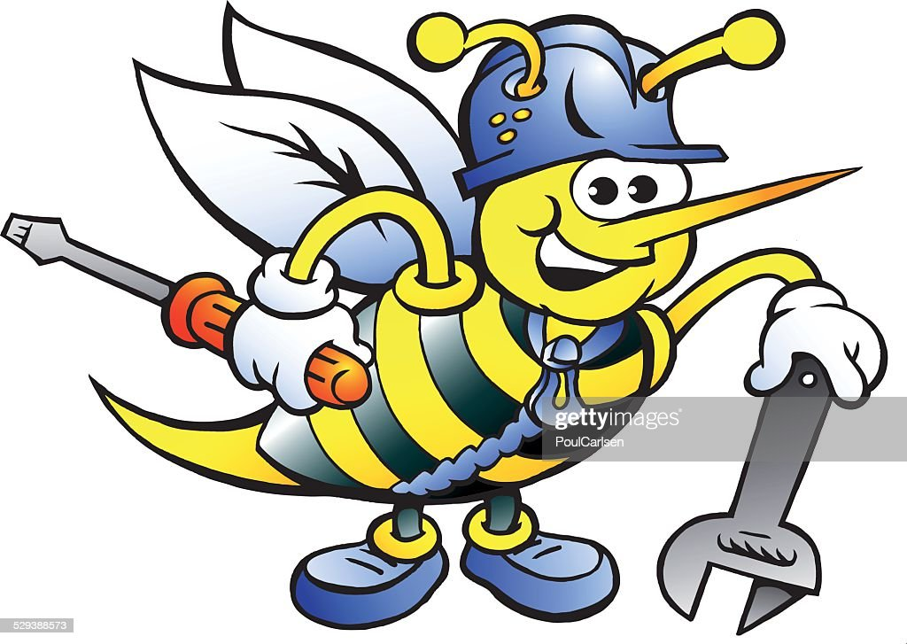 Happy Working Bee Holding Wrench and Screw Driver